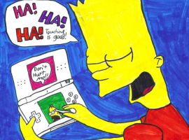 Bart playing the DS lite by DJgames