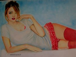 drawing miranda kerr by nakedcrayon23