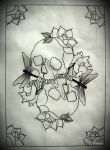 LOVE YOU TO DEATH tattoo flash OUTLINE by oldSkullLovebyMW