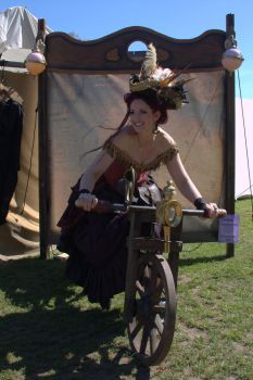 Stock - Steampunk lady riding a bike .. smile by S-T-A-R-gazer