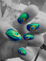 Peacock nails by soimmature