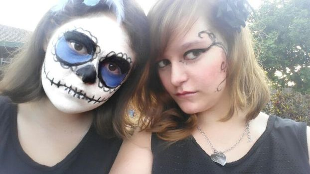 Me and my friends halloween make up^^ by GlimmeringAngel26
