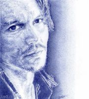 Johnny Depp. Blue biro. by artisticartery