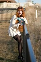 Alice, blue bunny, fence by Sinned-angel-stock
