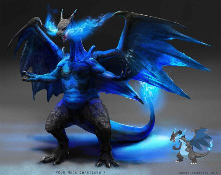 Pokemon: Mega Charizard X by LindseyWArt