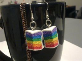 Rainbow Cake Polymer Clay Earrings by FullmetalDemigod