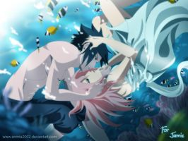 Commission:SASUSAKU underwater by annria2002