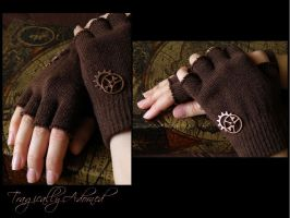 Brown Steampunk Gloves by Nya99