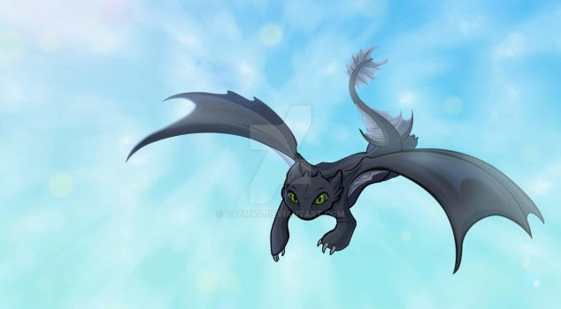 Toothless How to tame your dragon Fanart by Tazmaa