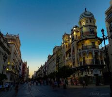 Night Falling on the city - Seville by Cloudwhisperer67
