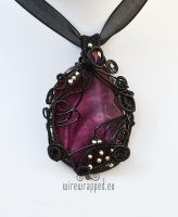 Purple fused glass pendant by ukapala
