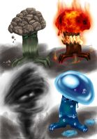 Elemental mushrooms by furball891