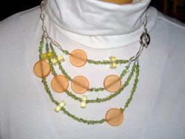 Resin and Peridot necklace by bataleigh