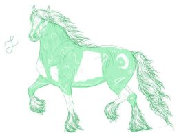Line Horse green tatuajes by Loheco