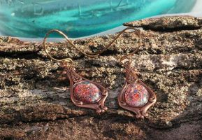 Fantasy opal Earrings stunning and unique copper by artistiquejewelry
