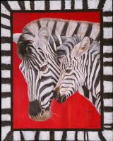 Zebra and Baby by Lcurtin