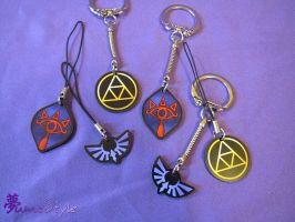 Charms - Triforce, Hylia, Sheikah by Sarinilli