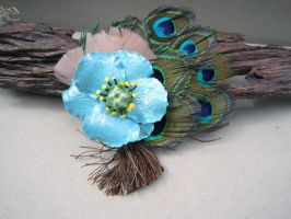 Blue Poppy with Peacock Feathers and Bronze Tassle by spaceraptor
