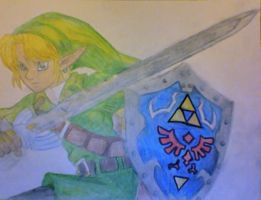 Link with the Master Sword and Hylian Shield by JunieChan