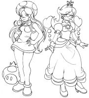 Toadette and Daisy, kinda by elazuls-core