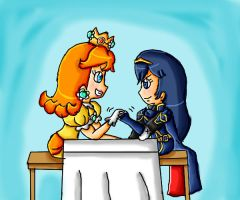 Daisy and Lucina arm wrestling by babyblisblink