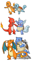Charmander + Squirtle Romance by KatRaccoon