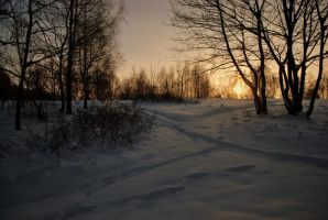Winter sunset by pourquoi25