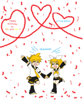 happy birthday kagamine twins by de-yuli