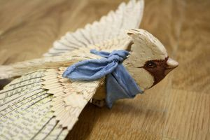 Handmade vintage paper bird with silk scarf by ZackMclaughlin
