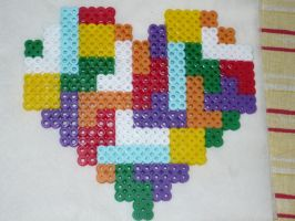 Tetris Heart Perler by tabescent