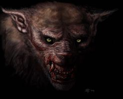 Werewolf head on by Beucephalus
