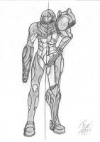 Samus Fusion Varia Suit Sketch by IronRebel