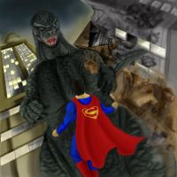 Godzilla vs Superman..again by krackizwak