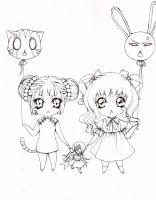 Cat and Rabbit_line_collab by Grayalzz