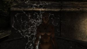 Langwen having a shower at Nchuzzrezar by Althewarlord