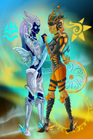 Cosmic Sisters Januxis and Alfiri -coloured- by ToxicDataGirl-88