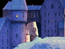 hogwarts castle in the snow, film set closeup. by Sceptre63
