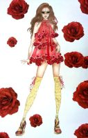 Fashion Sketch Dress Roses by TwISHH