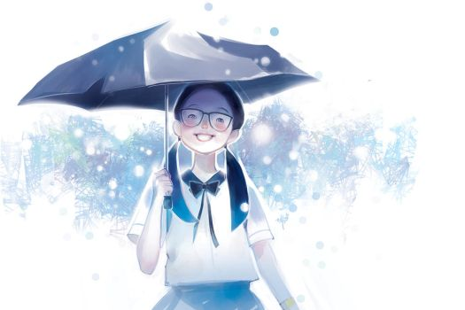 Smiling in the rain by SillyJellie