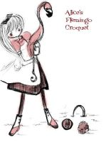 Alice's flamingo croquet by Gabycat