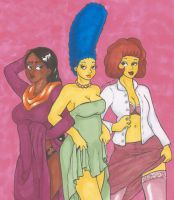 Ladies of the Simpsons by nickyflamingo