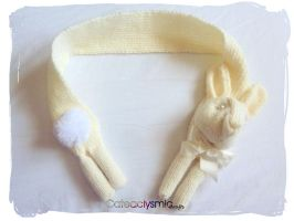 Cream Pearl Bunny Scarf by Cateaclysmic