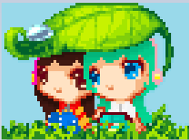 Yuki and Kari Pixel by Yuki-Bunni