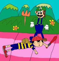 Ness loses to Luigi by Red-Supernova64