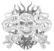 skull twin dragon tat by davidcaffrey