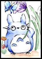 Totoro's Helper Watercolor by Caitiekabob