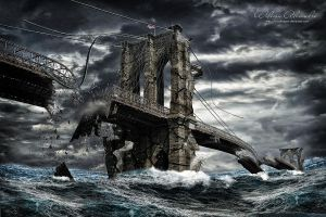 Destruction Brooklyn Bridge NY by wasdesigner