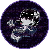 Chibi Dead Mermaid Pocket mirror design by Cukismo