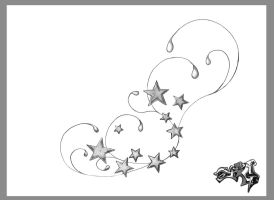 star foot tattoo design by A-T-G-4