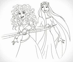 Brave Merida and the Queen by MaryJet